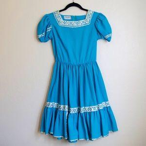 Vtg turquoise flare costume dress